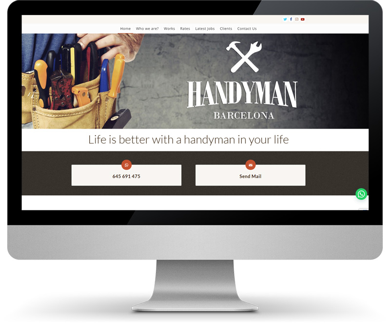 Handyman Barcelona imagen web en monitor Mandigit disseny