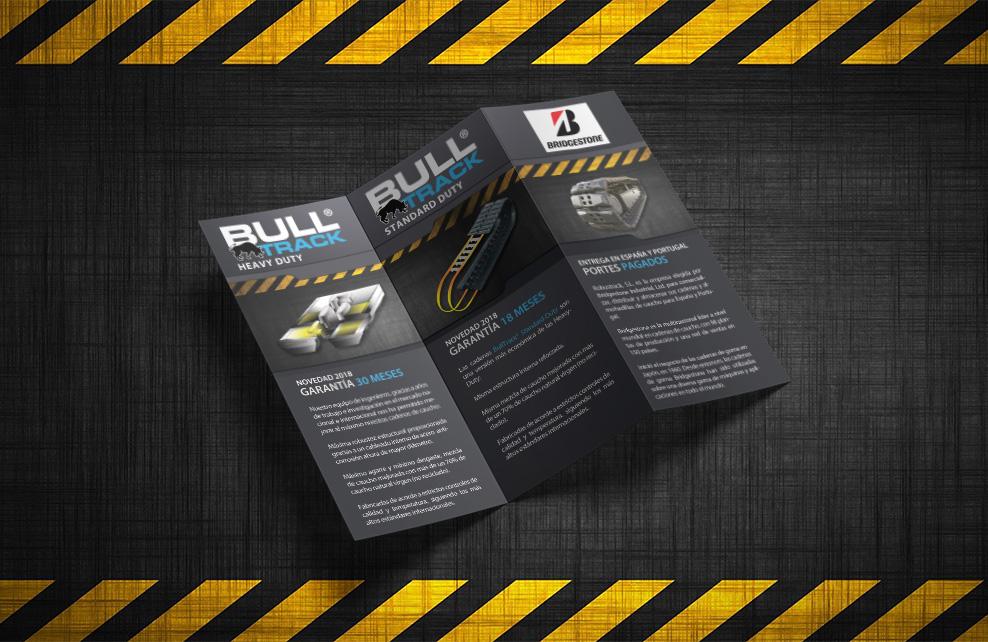 Robustrack Sl tríptico diseño gráfico Bull Track